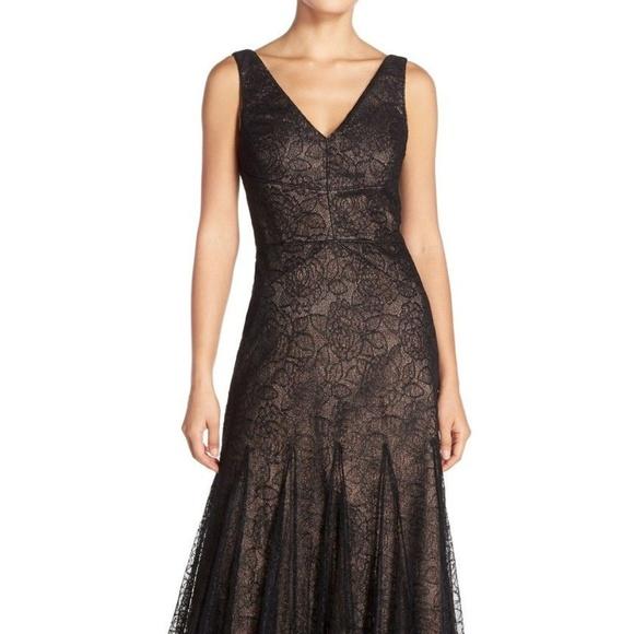 Vera Wang Dresses | Metallic Fit Flare Gown | Poshmark